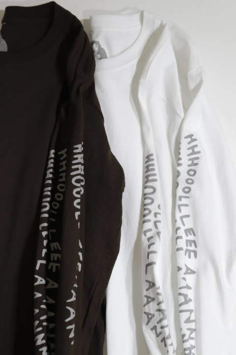 HHH L/S TEE WHITE | リフレクタープリント長袖Tシャツ